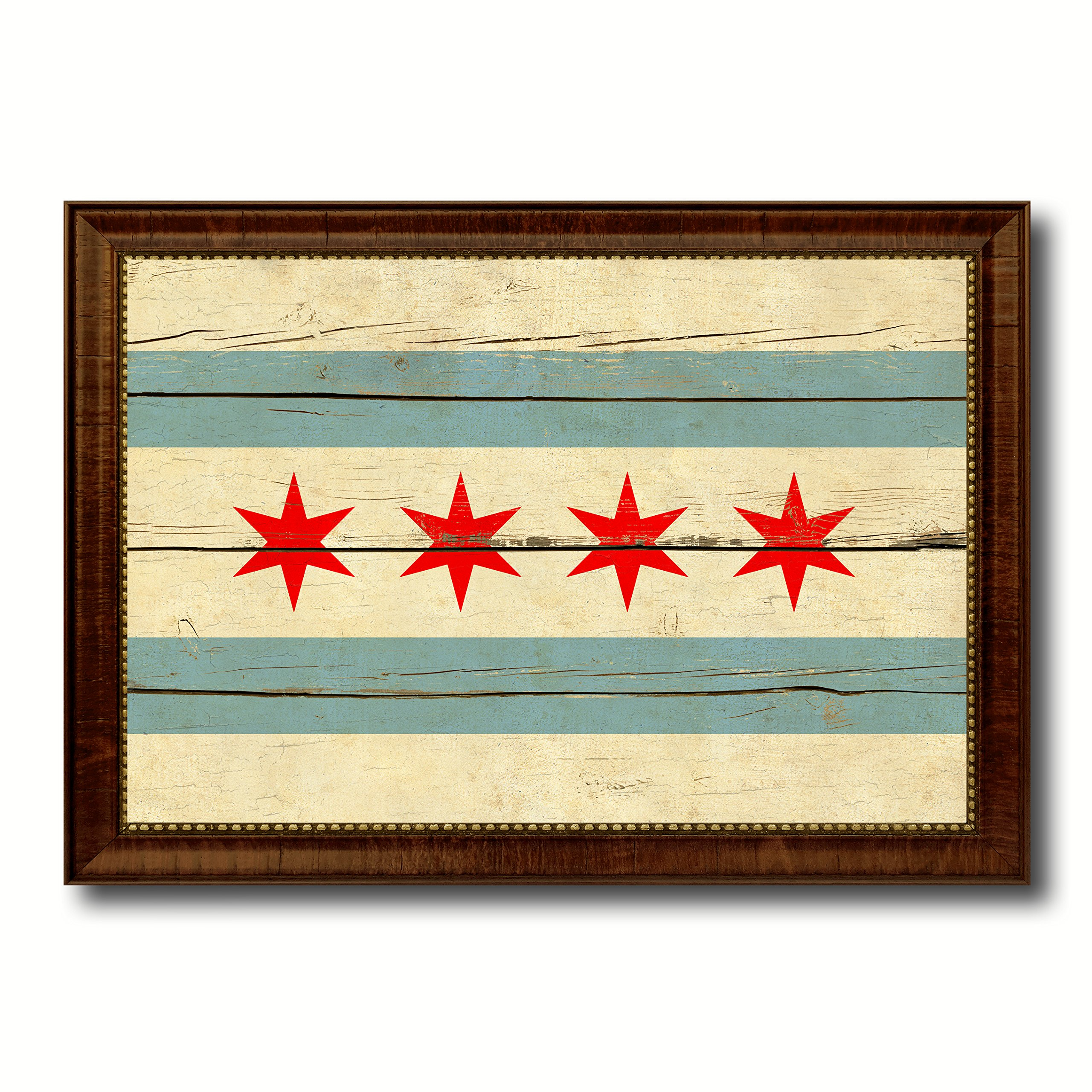 Chicago City Illinois State Flag Vintage Canvas Print Brown Picture ...