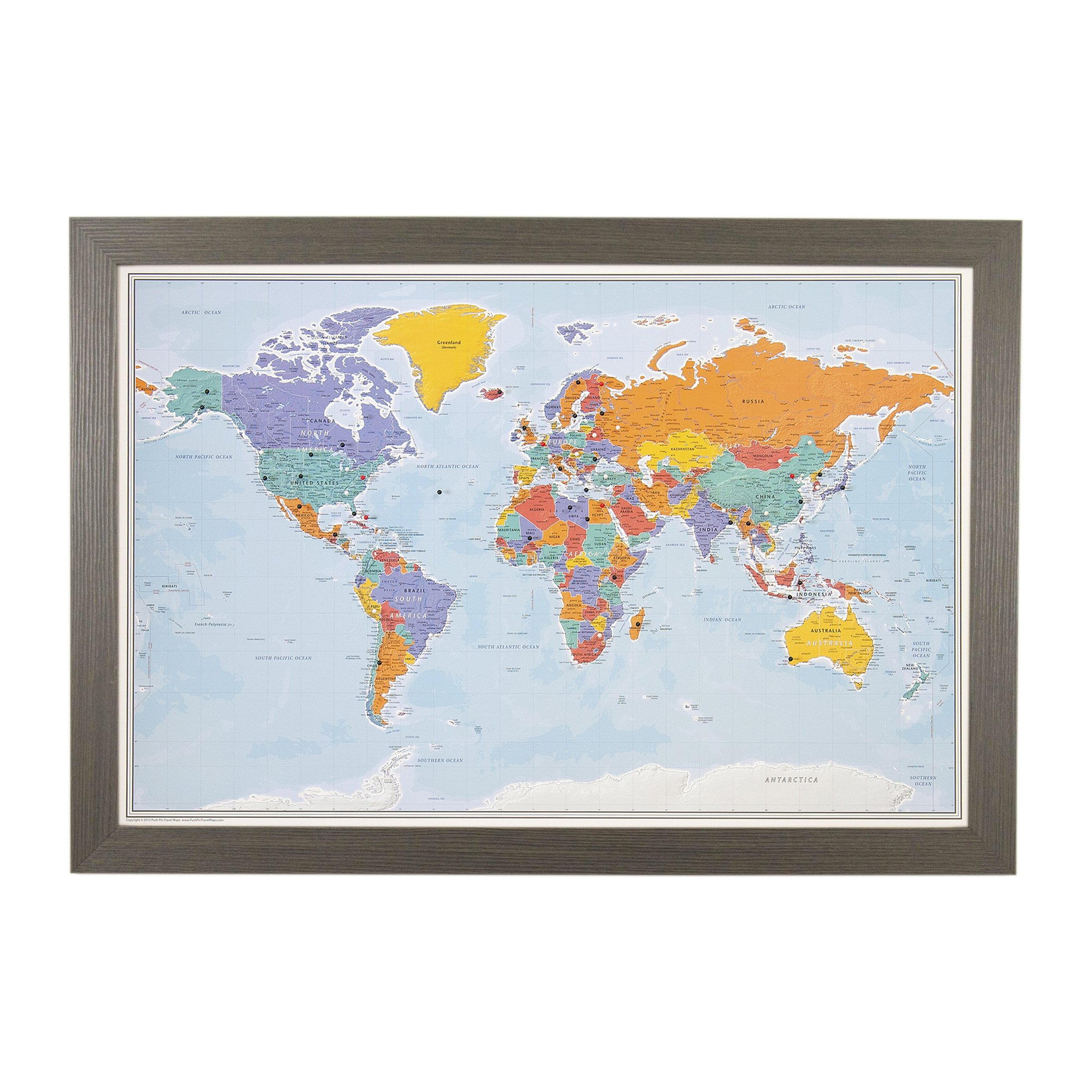 Push Pin World Travel Map with Barnwood Gray Frame and Pins - Blue Oceans 24 x 36
