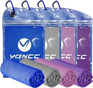 """YQXCC Cooling Towel 4 Packs (47""""x12"""") Microfiber Towel Yoga Towel for Men or Women Ice Cold Towels for Yoga Gym Travel Camping Golf Football & Outdoor Sports (Purple/Pink/Light Gray/Dark Blue)"""