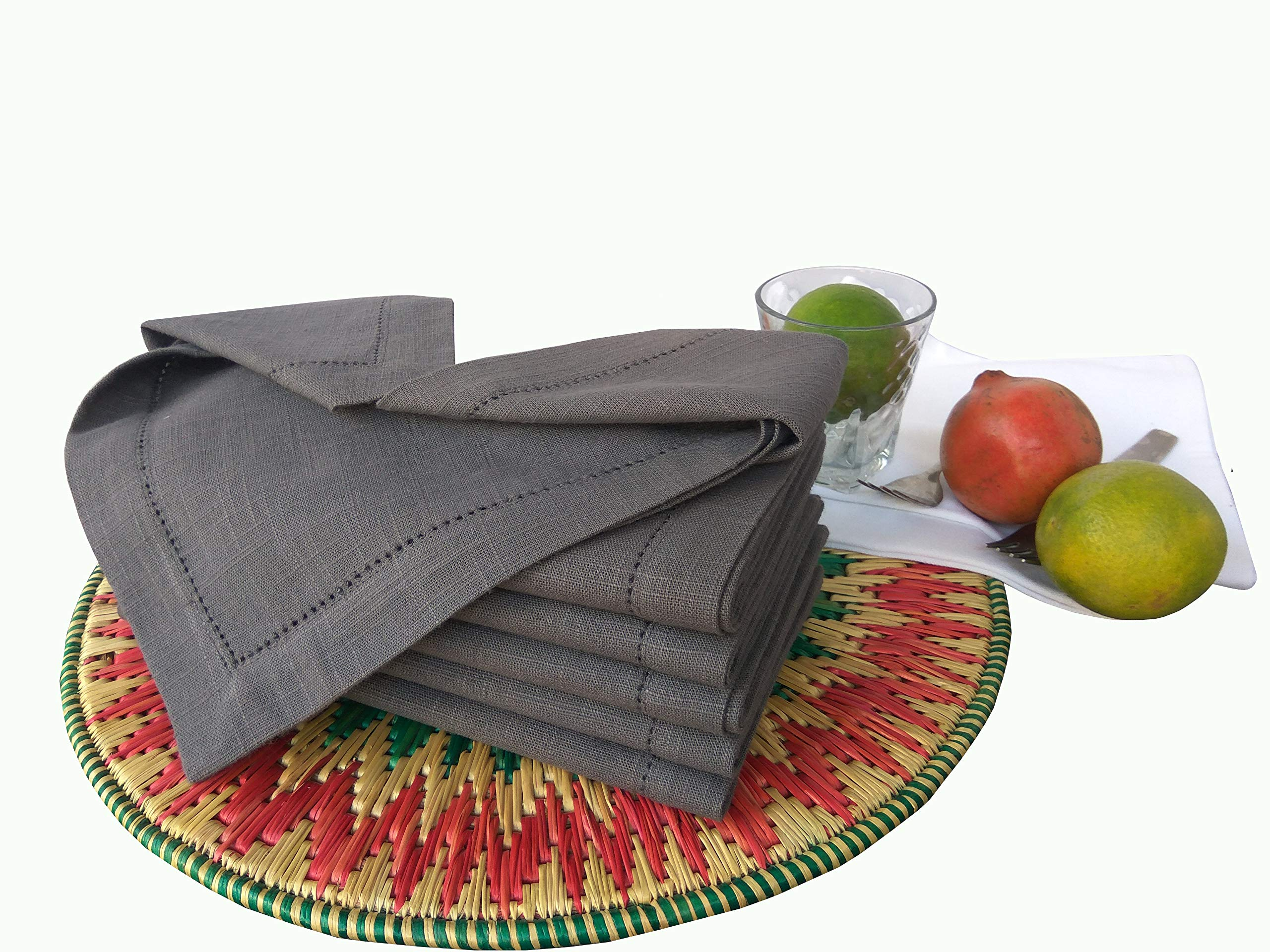 Linen Clubs 6pk slub cotton dinner napkins with hemstitch 18''X18''- charcoal
