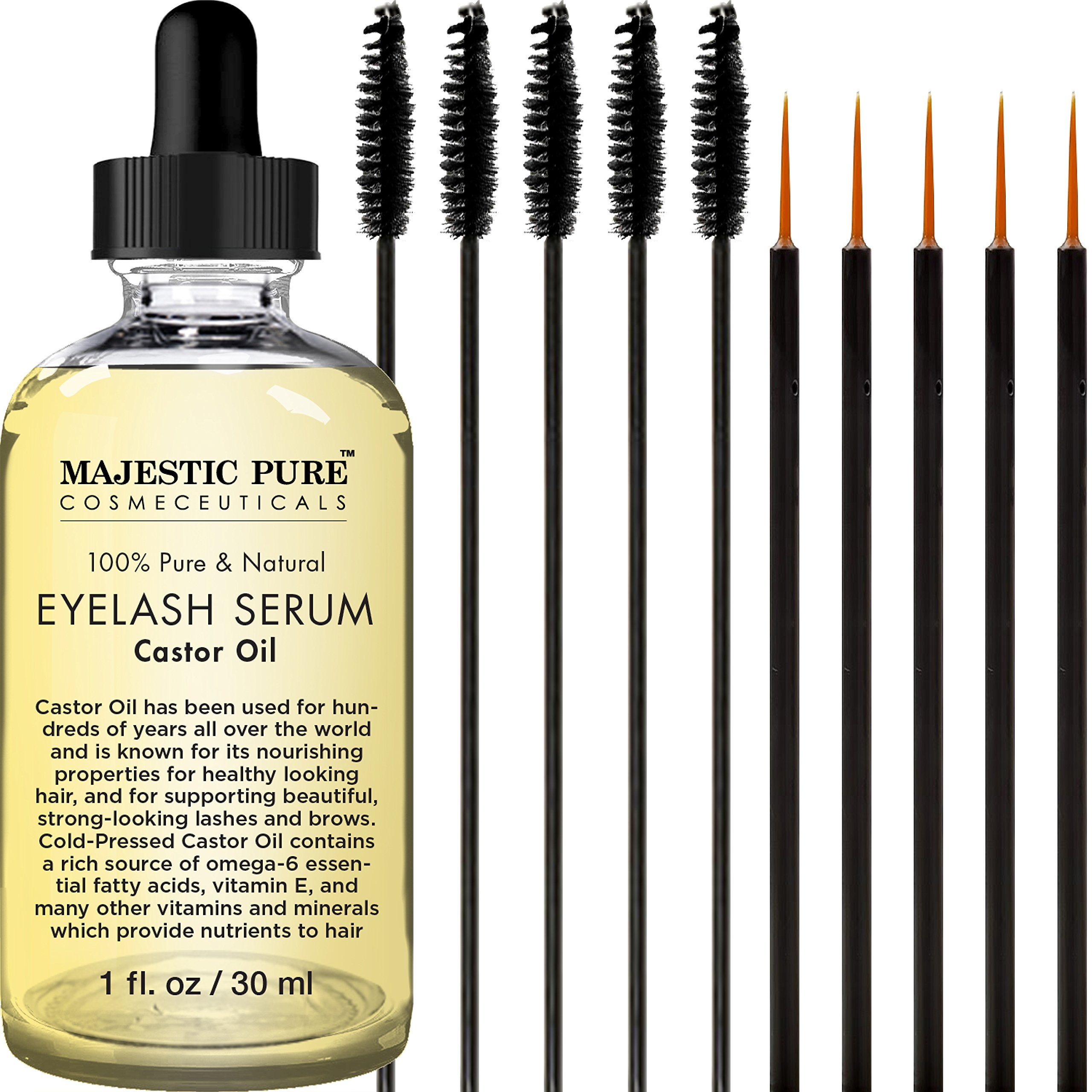 Majestic Pure Castor Oil Eyelash Serum, Pure and Natural, Promotes Natural Eyebrows & Eyelash Growth, Free Set of Mascara Brush and Eyeliner Applicator - 1 fl oz