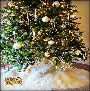 Christmas Tree Skirt Plush Shaggy Faux Fur White Round 5 Diameter Bright Whtie