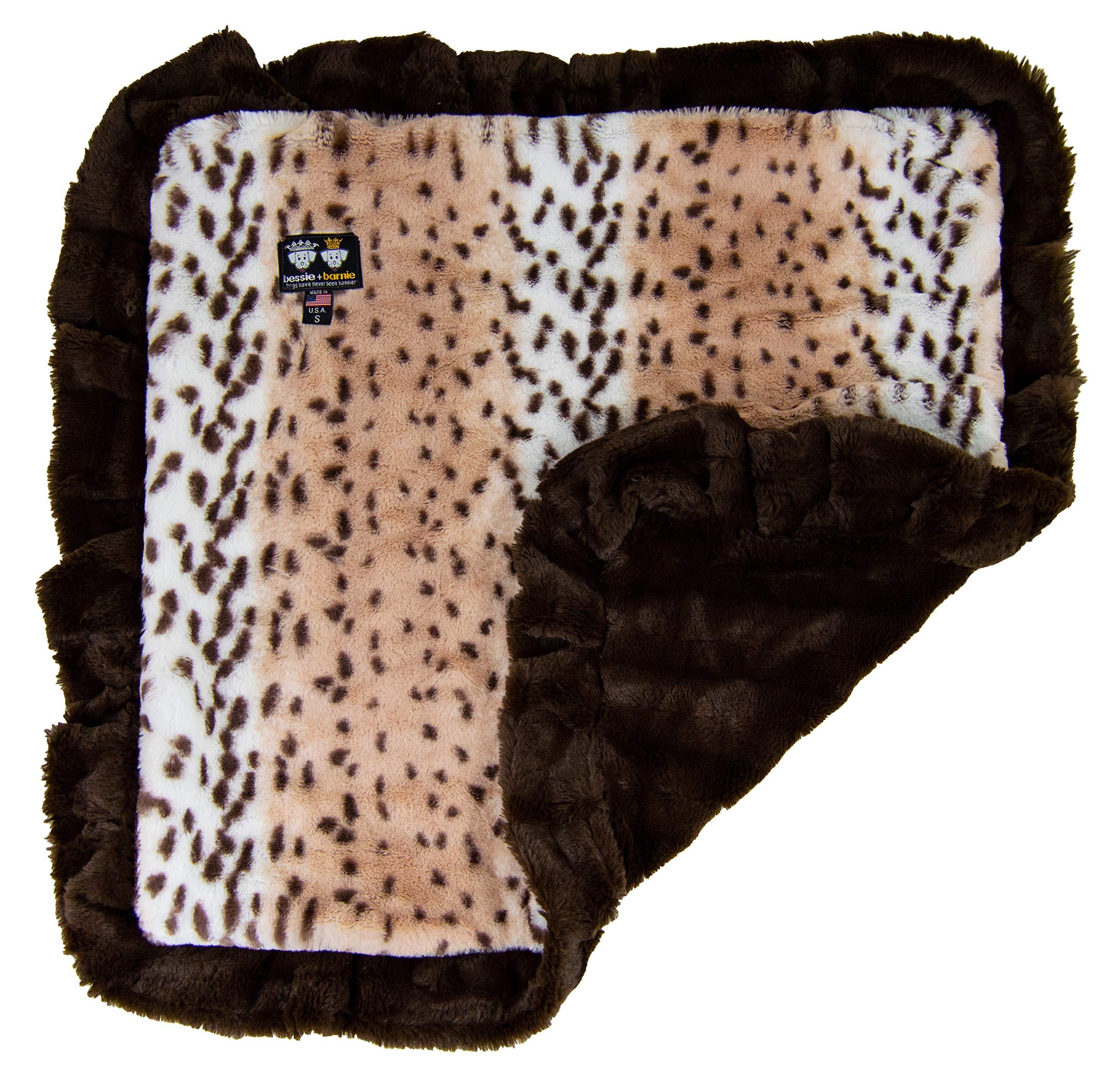 BESSIE AND BARNIE Aspen Snow Leopard/Godiva Brown (Ruffles) Luxury Ultra Plush Faux Fur Pet, Dog, Cat, Puppy Super Soft Reversible Blanket (Multiple Sizes)