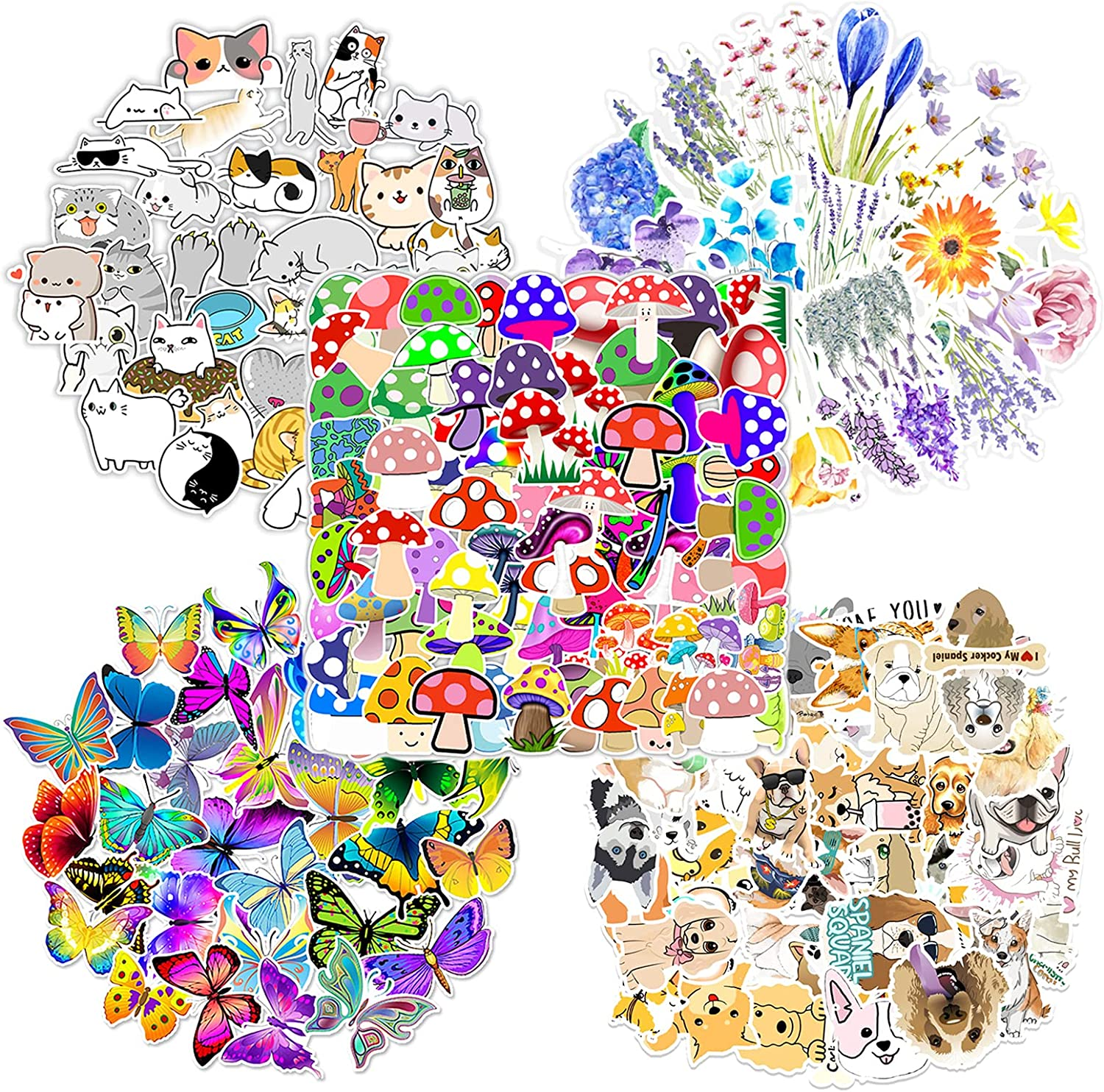 250 Pieces Mixed Sticker for Water Bottles, VSCO Waterproof Aesthetic Trendy Vinyl Decal, Cute Cat Dog Mushroom Flower Butterfly GraffitiStickers for Kids Computer Laptops Phones Luggage Skateboard