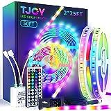 TJOY LED Strip Lights with 44 Key Remote 50 ft, Multi-Color RGB SMD5050 LED Lights ,12 Volt Color Changing LED Light Strip fo