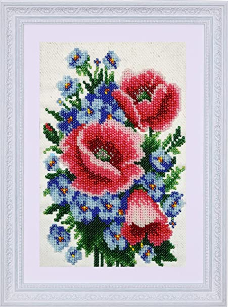 1x Printed Tapestry Thread Canvas Poppies /& Cornflowers Sewing Craft Tool Art