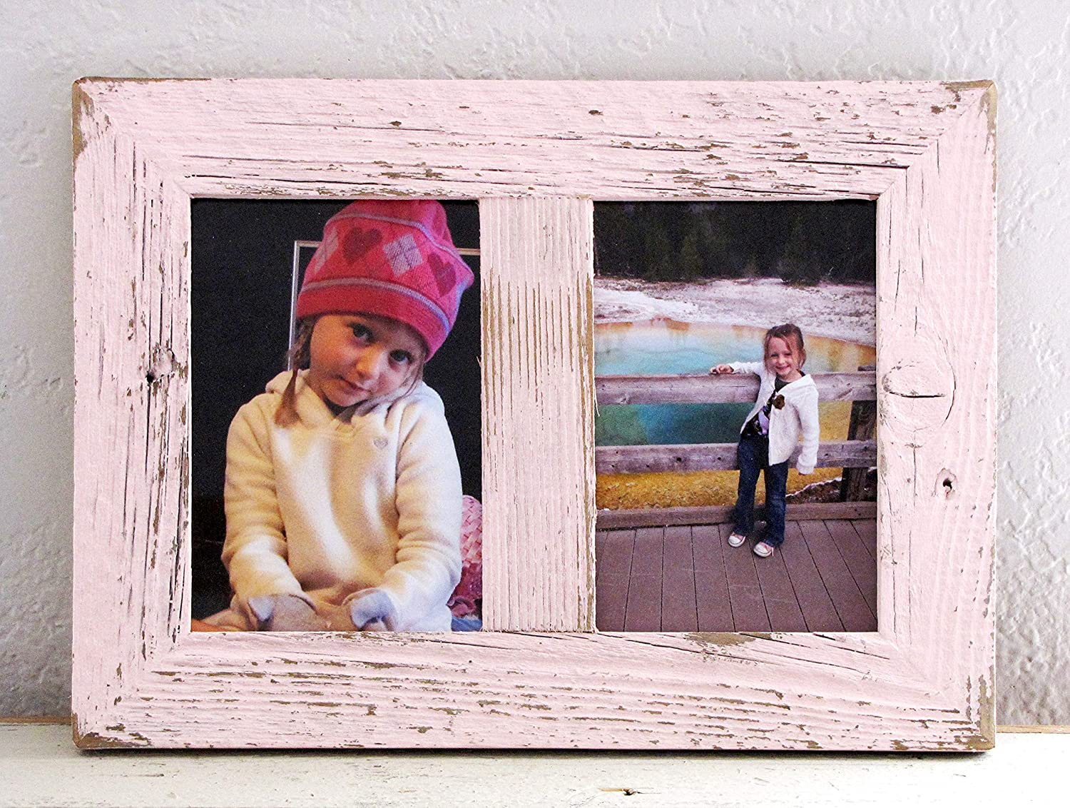 2 Openings 5x7 Wood Rustic Wall Photo Frame Wood Barn Door Picture Frame