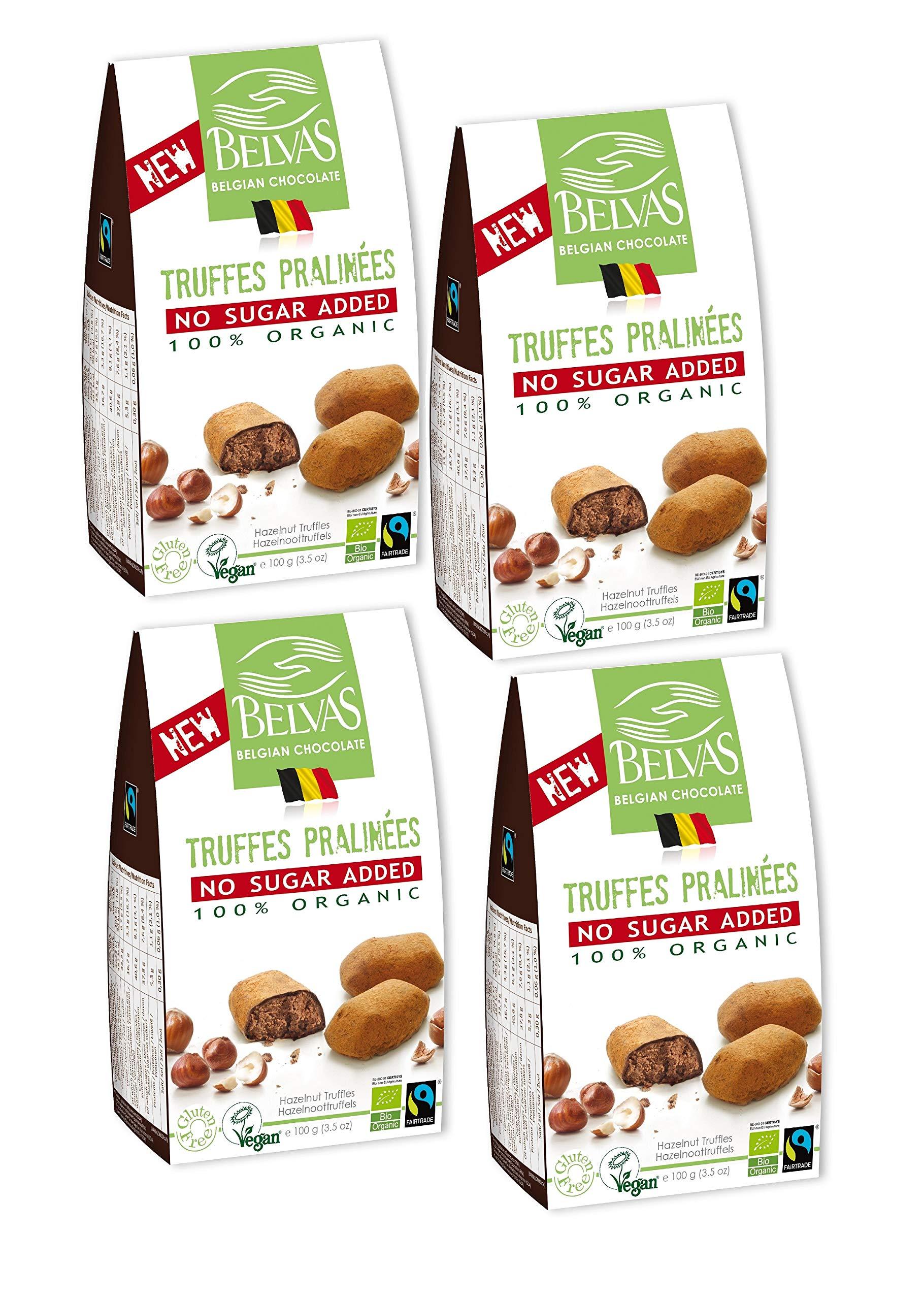 Belvas Hazelnut Praline Truffles - No Added Sugar Dark Chocolate 3.5oz (4 Boxes) by Belvas