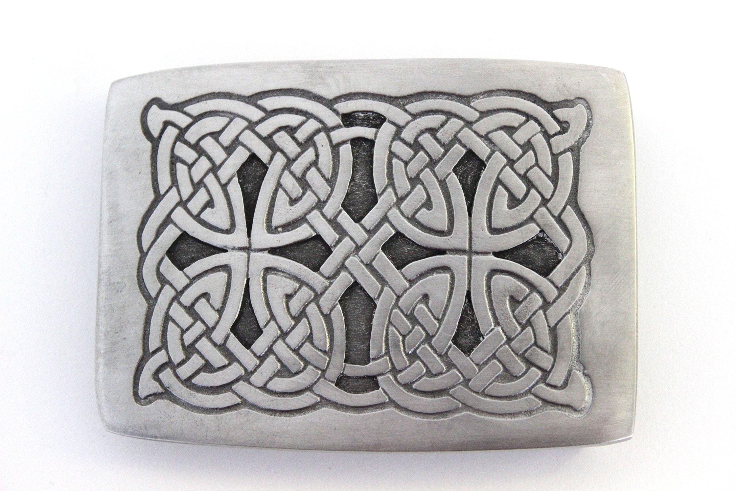 Brushed Pewter Celtic interlace Eternal Knot Work Belt Kilt Buckle - Made In Scotland