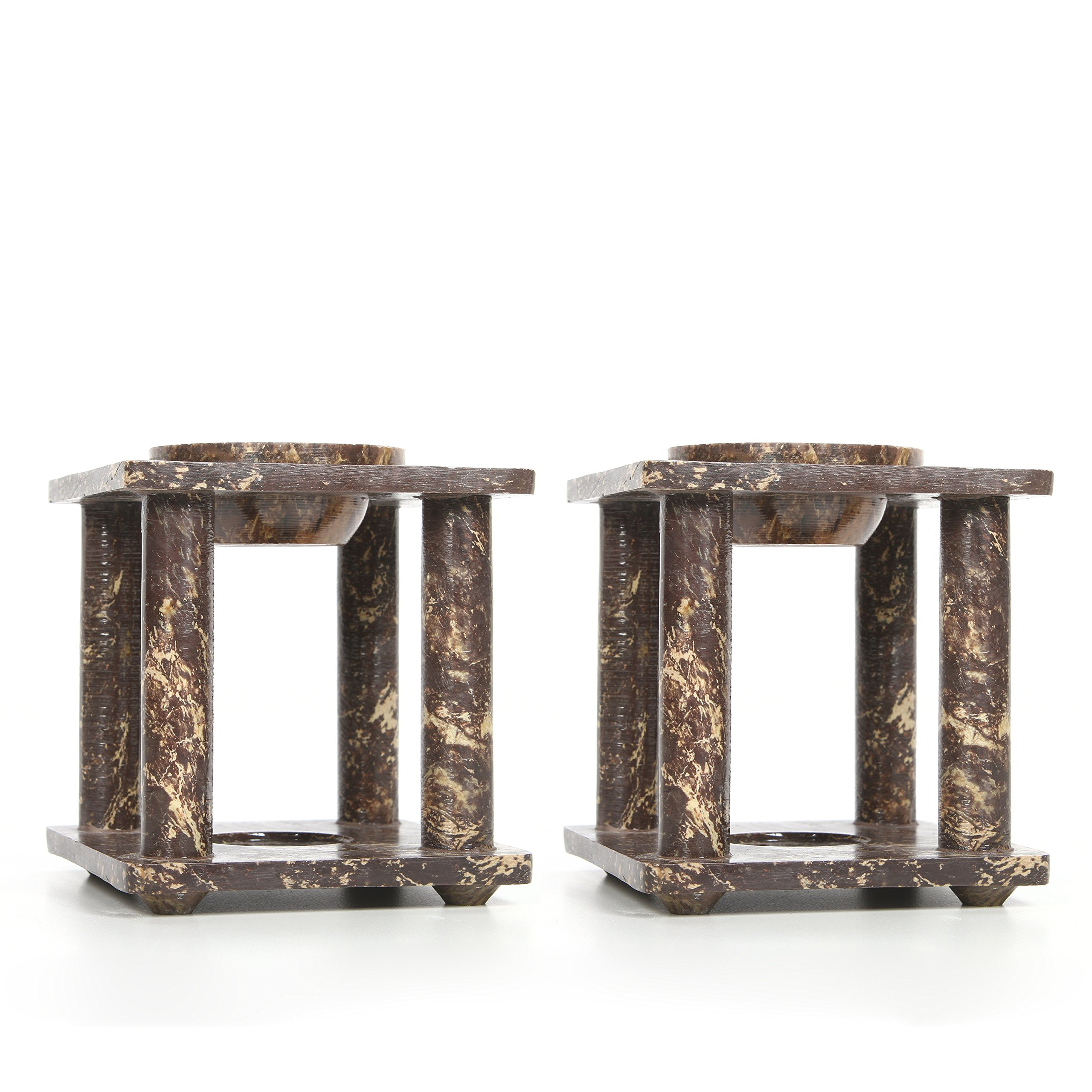 Hosley Set of 2 Brown Soapstone Oil Burner- 4'' High. Ideal for Spa and Aromatherapy. Use with Brand Wax Melts/Cubes, Essential Oils and Fragrance Oils. O5