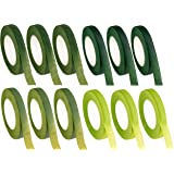 Floral Tape - 12-Pack Florist Tape, Green Floral Adhesives, Perfect for Bouquet Stem Wrapping, Floral Arrangement and…