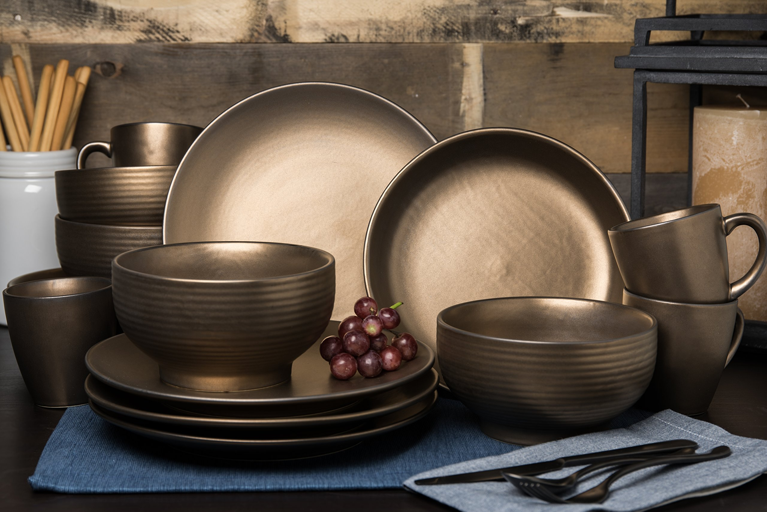 Tablescapes ME52957-16PC 16 Piece Teton Dinnerware Set, Rubbed Gold by Tablescapes (Image #2)