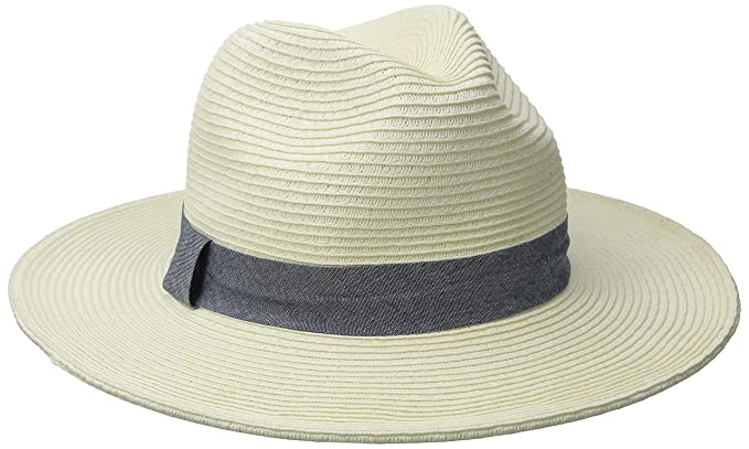 San Diego Hat Company Womens Panama With Chambray Band Ivory One Size