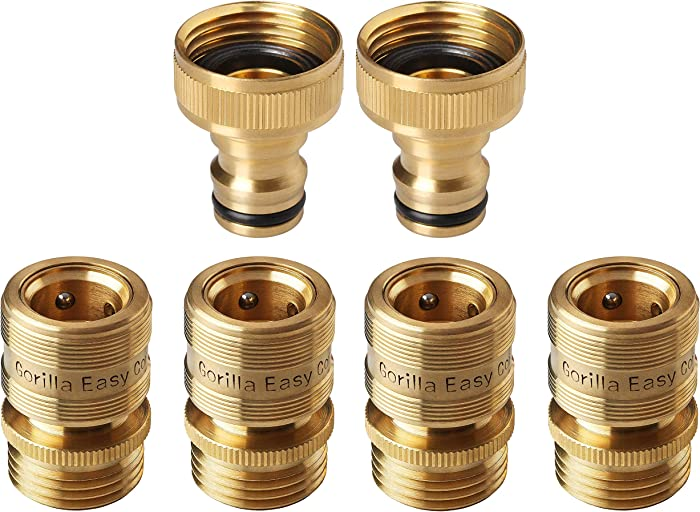 GORILLA EASY CONNECT Garden Hose Quick Connect Fittings. ¾ Inch GHT Solid Brass. 4 Female and 2 Male Connectors.