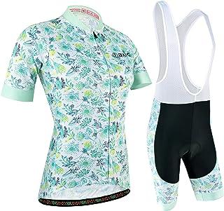 Radtrikot Set Damen Kurz, Atmungsaktiv Radsportanzug mit Radhose mit 3D Sitzpolster für Fahrrad Rennrad, Blau und Weiß