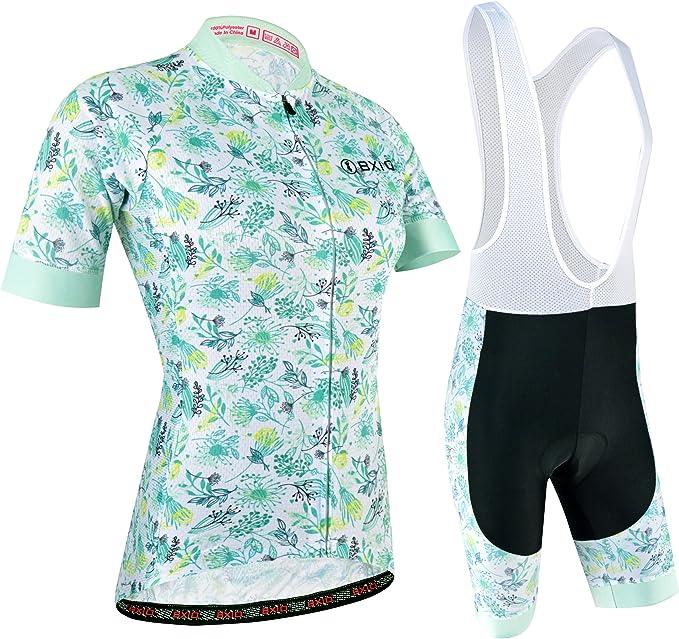 Damen Radtrikot Set Kurzarm Atmungsaktive Fahrradbekleidung Radhose mit 5D Sitzpolster Draussen Sommer Mountain Rennradfahren Mode Radsportanzug