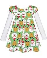 Girls Dress Christmas Santa Reindeer 2-in-1 Top Dress Age 2-8 Years