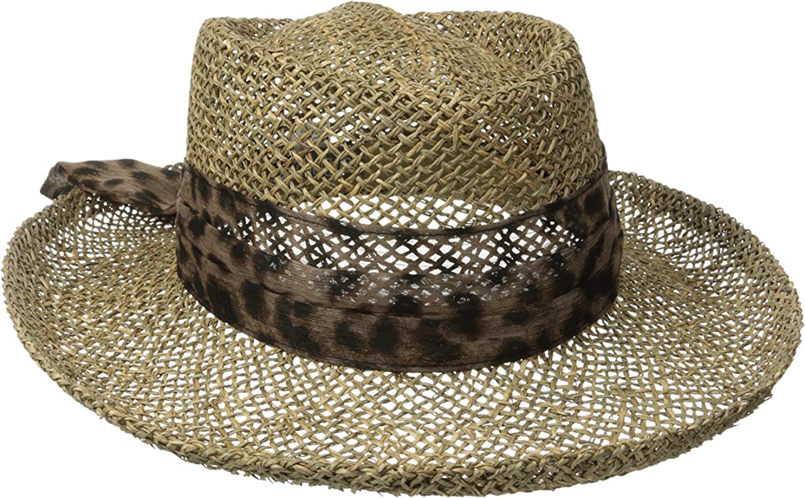 2ef0019a0edf2 San Diego Hat Company Women s Seagrass Gambler with Poly Chiffon Band