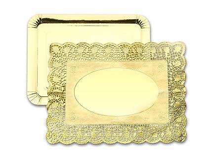 IBILI 729511 - Set 3 bandejas 26x34 cm + 3 blondas rectangulares 30x39 cm Doradas