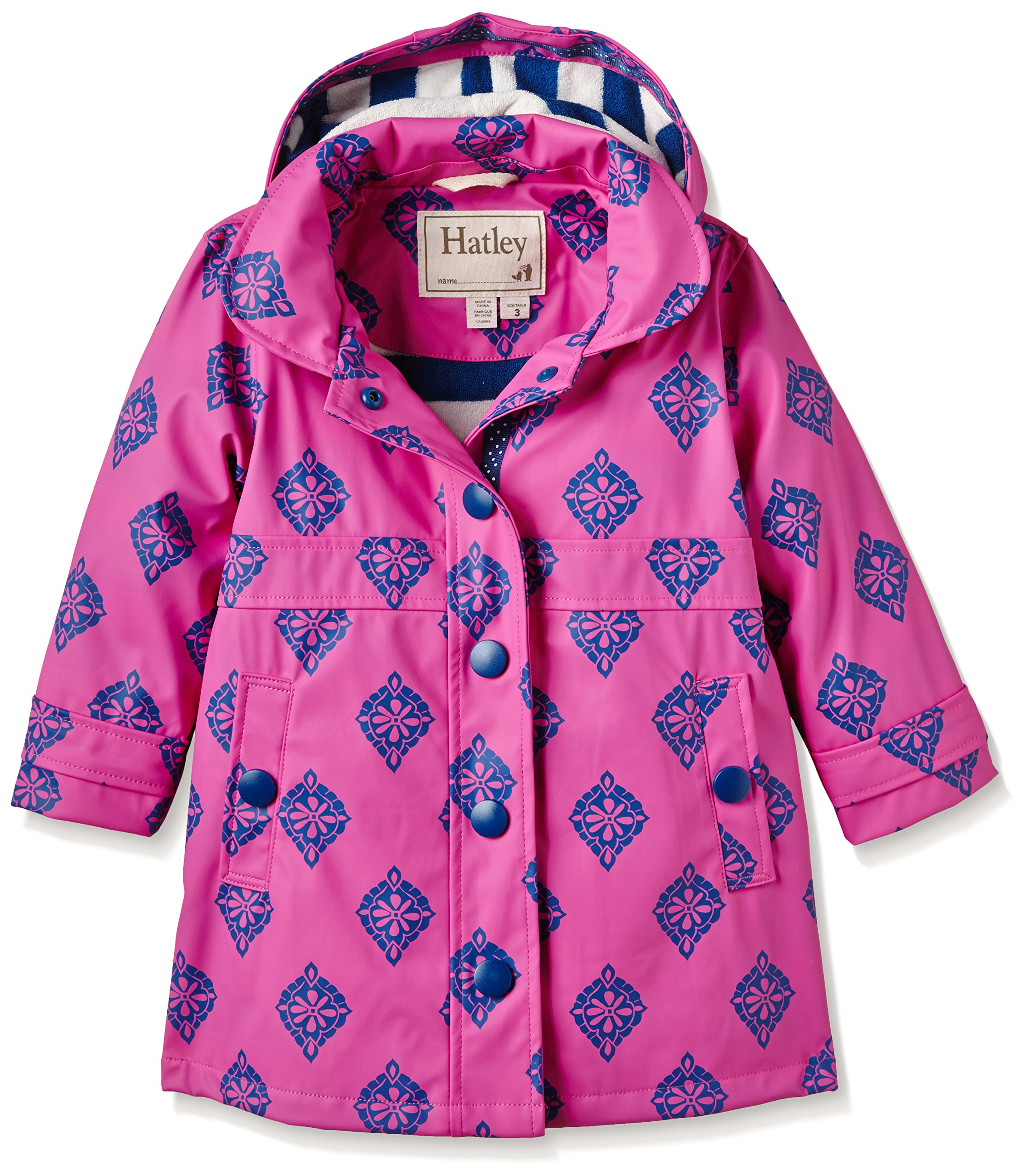 Hatley Little Girls' Splash Jacket Medallions, Pink, 4