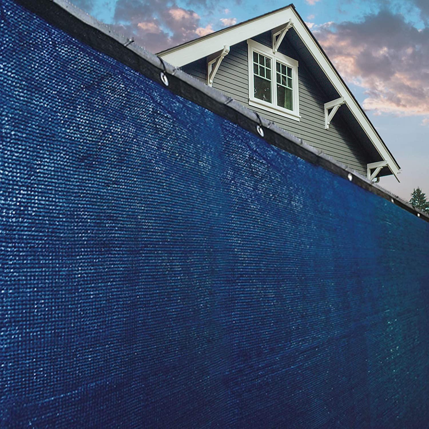 ALEKO PLK06150ABLUE Fence Privacy Screen Outdoor Backyard Fencing Windscreen Shade Cover Mesh Fabric with Grommets 6 x 150 Feet Blue