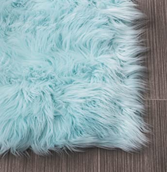 Serene Super Soft Faux Sheepskin Shag Silky Rug Baby Nursery Childrens Room Rug  Light Blue,