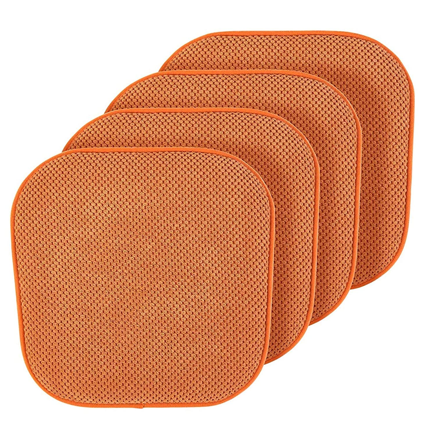 GoodGram Premium Soft Surface Ultra Comfort Non-Slip Kitchen & Dining Curved Memory Foam Chair Cushions - Assorted Colors (Spice, 4 Pack)