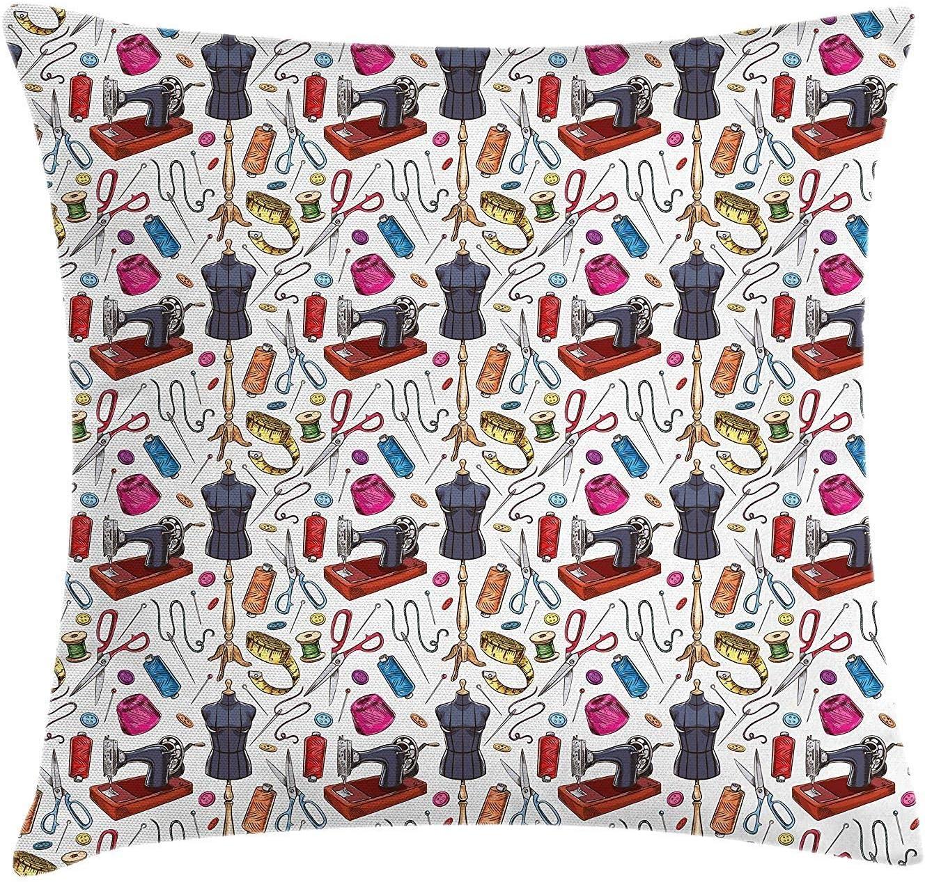 Pillow Cushion Cover Patrón con Equipo de sastrería de Dibujos ...