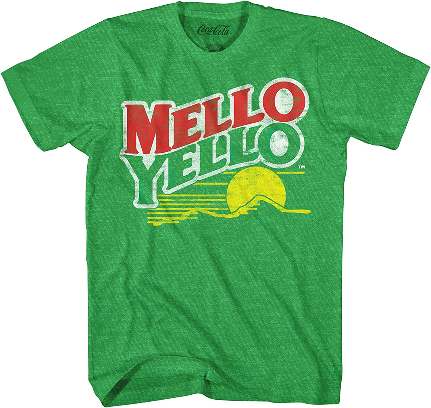 Coca-Cola Mello Yello Soda Pop Drink Funny Classic Vintage Mellow Yellow Apparel Logo Men's Adult Graphic Tee T-Shirt