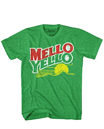 99d43af2 Mello Yello Soda Pop Drink Funny Classic Vintage Mellow Yellow Apparel Logo  Men's Adult Graphic Tee. Roll over image to zoom in. Coca-Cola