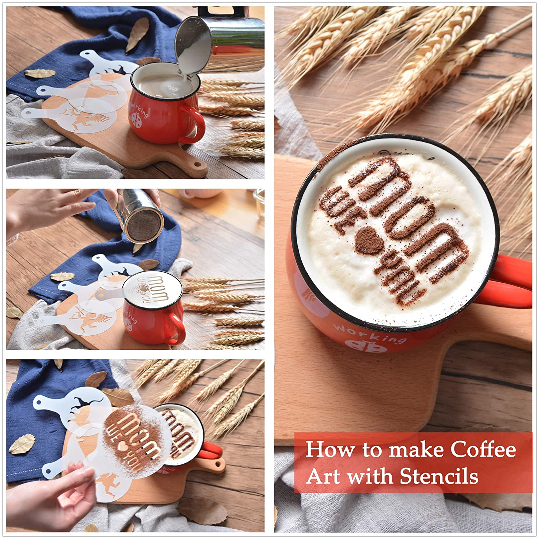 SOSMAR - Plantillas de café con diseño de cappuccino para el día de la madre, día de San Valentín, Navidad, perros, gatos, para decoración de café, ...