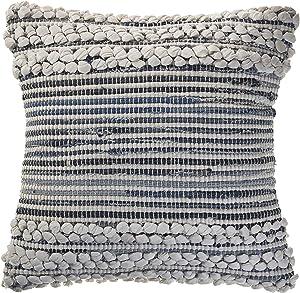 LR Home Bold Textured Navy Throw Pillow Area Rug, 18