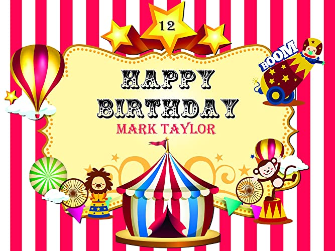 Amazon.com: Custom Personalized Cute Circus Poster with Balloons ...