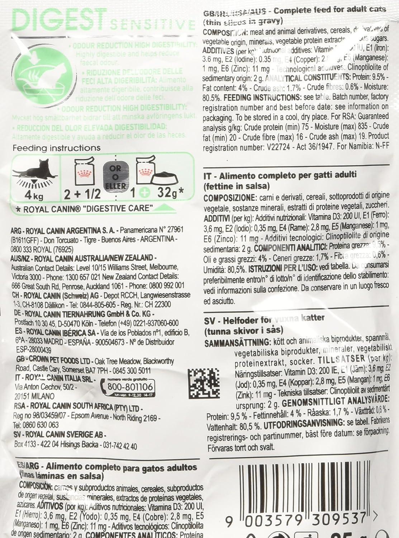 ROYAL CANIN Feline Digest Sensitive Pouch - 85 gr: Amazon.es ...