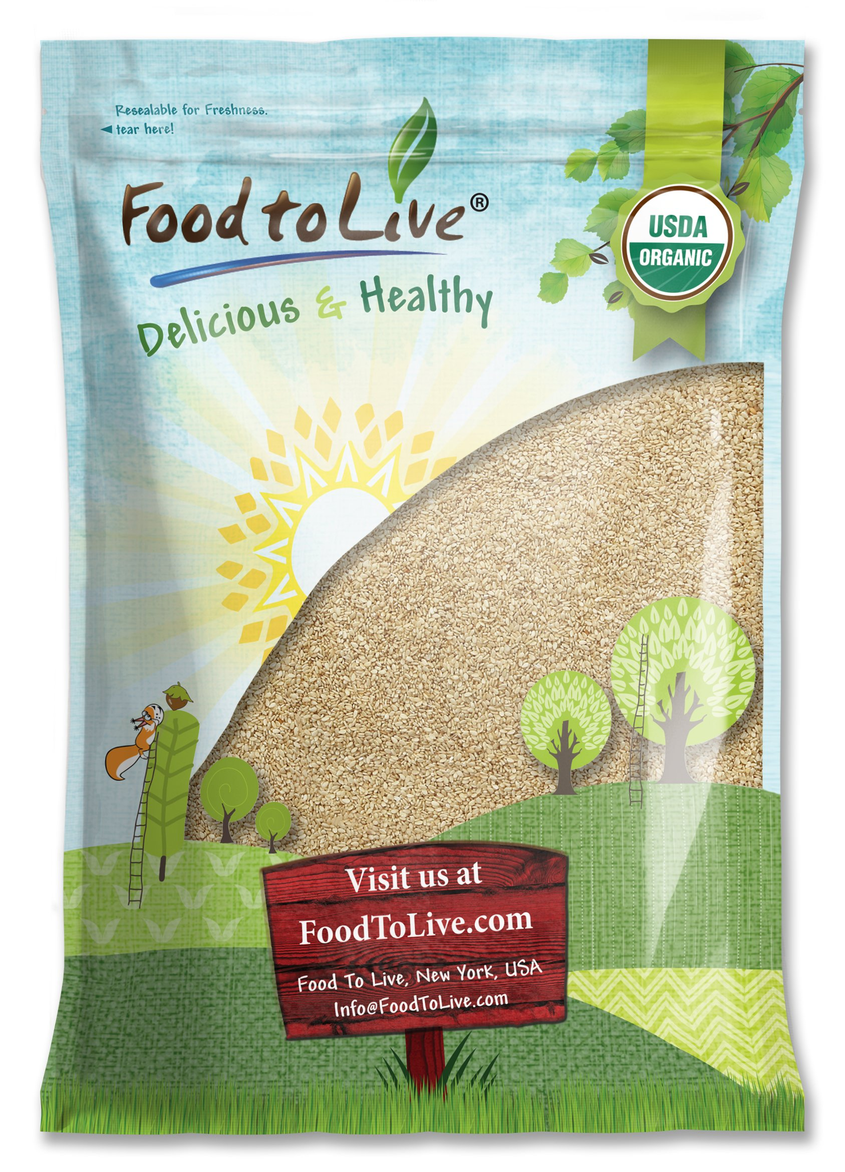 Food To Live Certified Organic Sesame Seeds (Raw, Hulled, Kosher) (18 Pounds)
