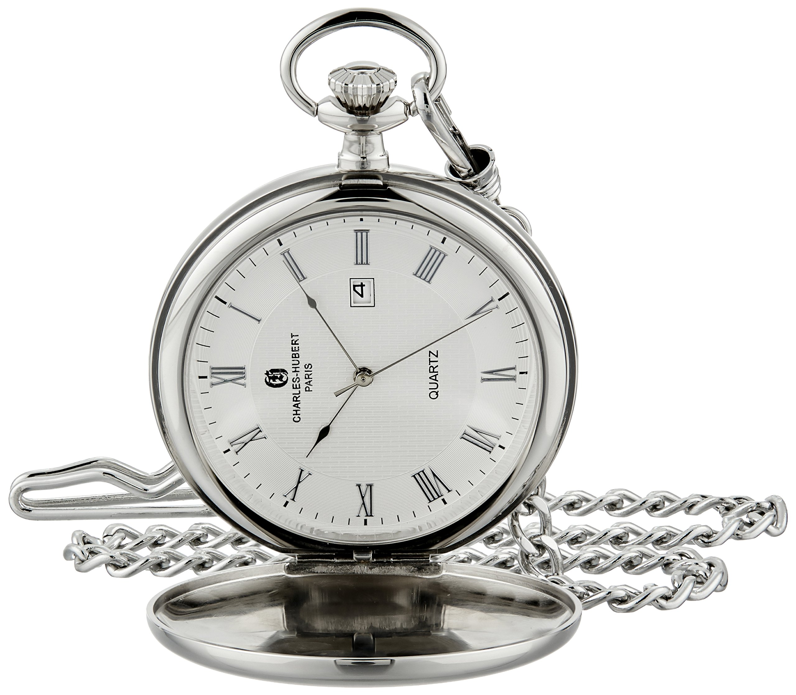 Charles-Hubert, Paris 3978-TR Classic Collection Analog Display Japanese Quartz Pocket Watch