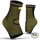 PURE SUPPORT Ankle Brace Sleeves with Best Compression – Effective Foot Pain Relief from Heel Spurs & Plantar Fasciitis –- One Pair Socks for Womens, Men & Kids –- Comfortable Fit & Highly Breathable