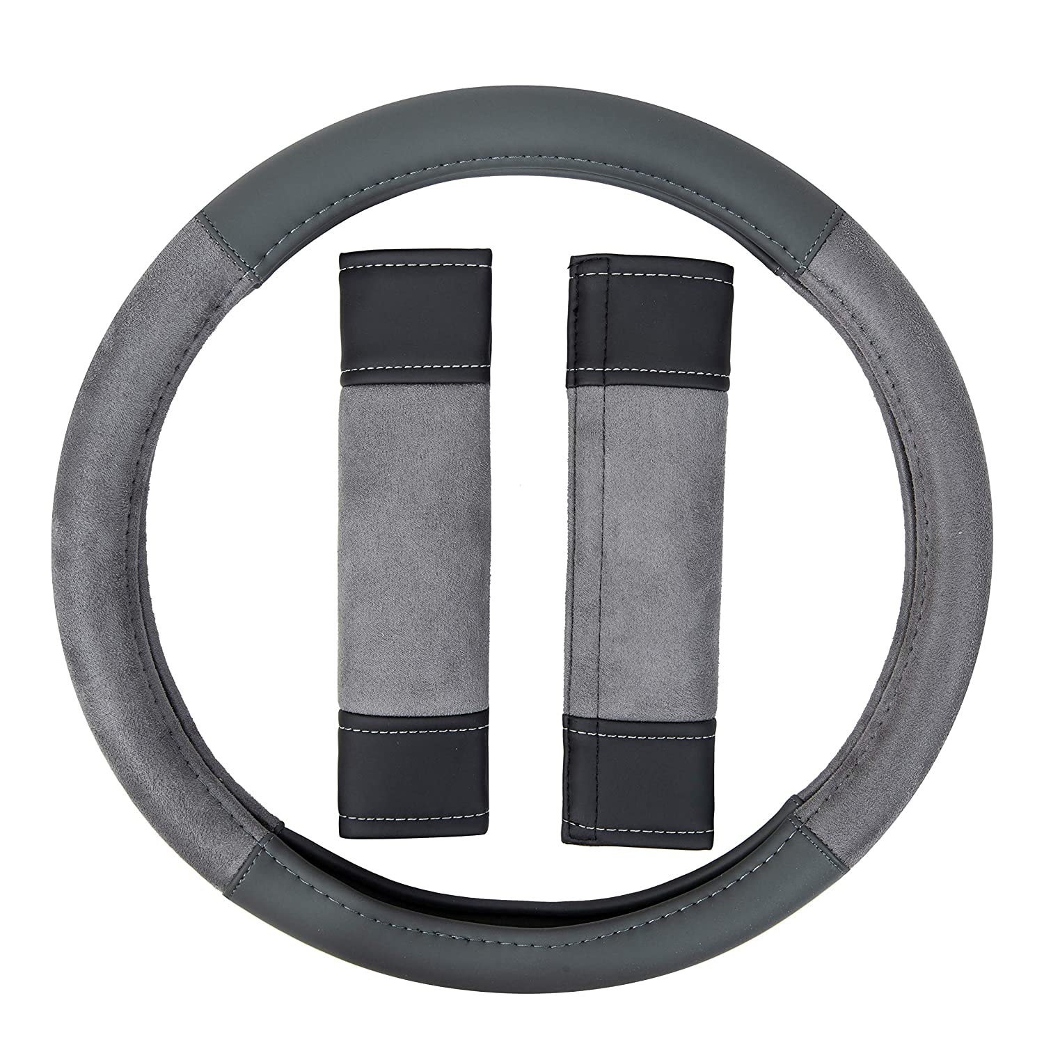Basics Leatherette and Suede 15/″ Steering Wheel Cover and Seatbelt Pads Gray