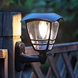 MAGGIFT 2 Pack Solar Powered Wall Lantern, Outdoor 10 Lumen LED Edison Bulb Solar Warm White Lights Wall Sconce with No…