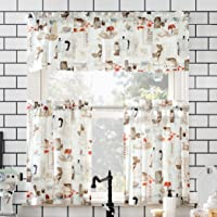 """No. 918 Brew Coffee Shop Semi-Sheer Rod Pocket Kitchen Curtain Valance and Tiers Set, 54"""" x 24"""" 3-Piece, White"""
