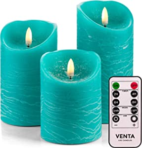Venta Set of 3 Realistic Flameless Turquoise LED Candles with Remote Control - 4'' 5'' 6'' Electric Wickless Pillar Battery Operated Candles with Flickering Flame Timer