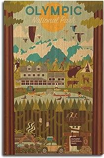 product image for Lantern Press Olympic National Park, Washington - Geometric (10x15 Wood Wall Sign, Wall Decor Ready to Hang)
