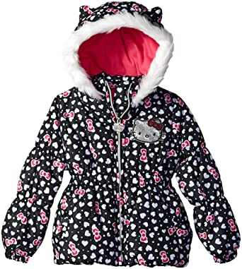 860e1f9ea Hello Kitty Girls' Little Printed Puffer Jacket with Fur Trim Hood, Black  Heart,