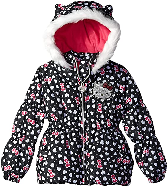 8d9214ddf Amazon.com: Hello Kitty Baby Girls All Over Printed Puffer Jacket with Fur  Trim Hood: Clothing