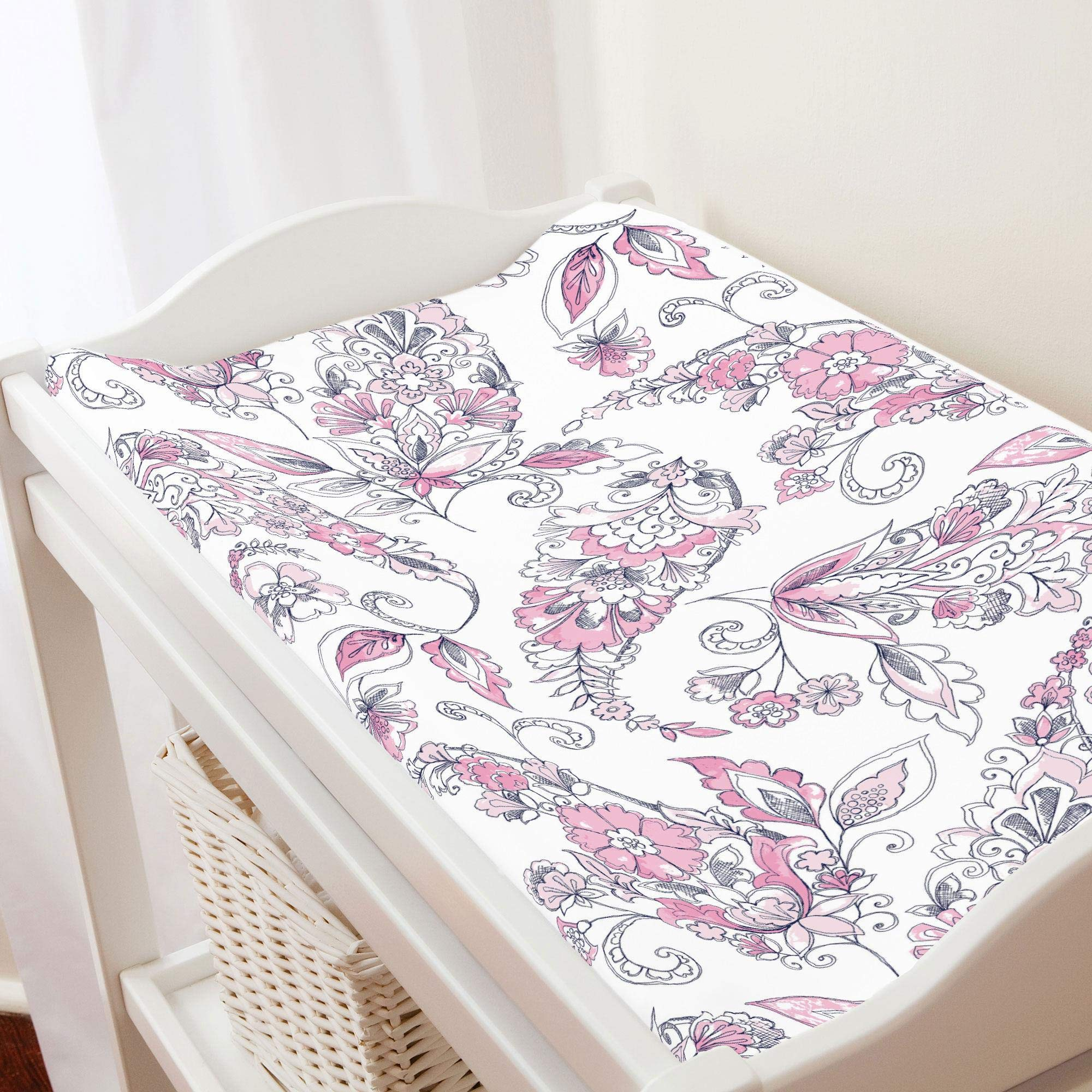 Carousel Designs Pink and Navy Sketchbook Floral Changing Pad Cover - Organic 100% Cotton Change Pad Cover - Made in The USA