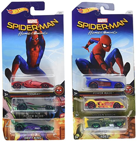 30b69857 Image Unavailable. Image not available for. Color: 2017 Hot Wheels ~ Marvel  Spider-Man Homecoming Walmart Exclusive Set of 6