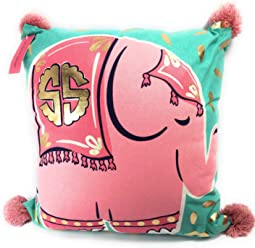 1f6f1e43 Simply Southern Pink Elephant on Turquoise w Pink Pom Poms Decorative  Filled Pillow, 18