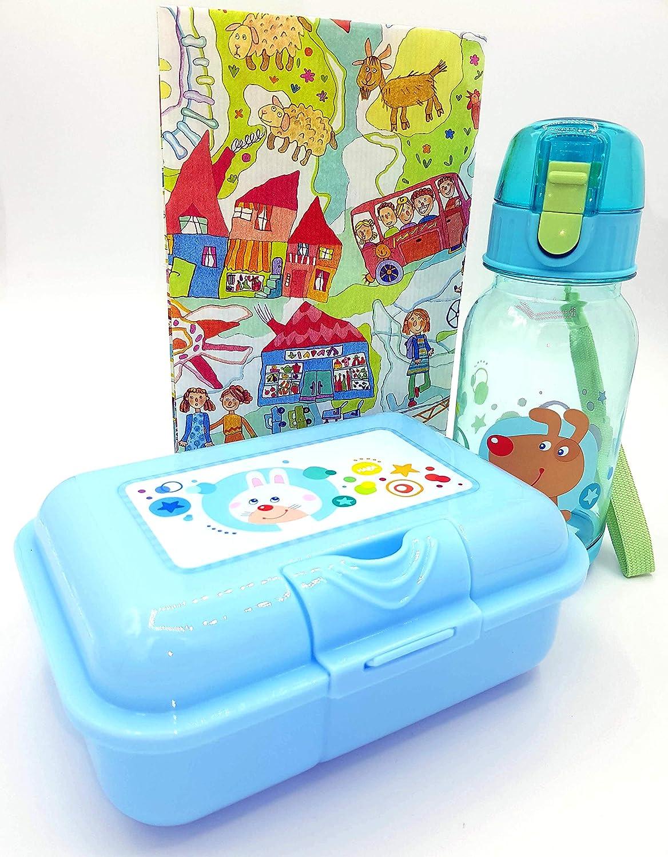 HABA Brotdose und Trinkflasche Regenbogenfarben Kiga Hase Hund Tennfach Brotzeitbox Geschenkset M/ädchen Jungen