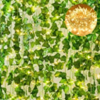 Giftale 168 Feet 24 Strands Artificial Ivy Leaf Plants Hanging Vine with 100 LED 33 Feet String Lights Perfect for…