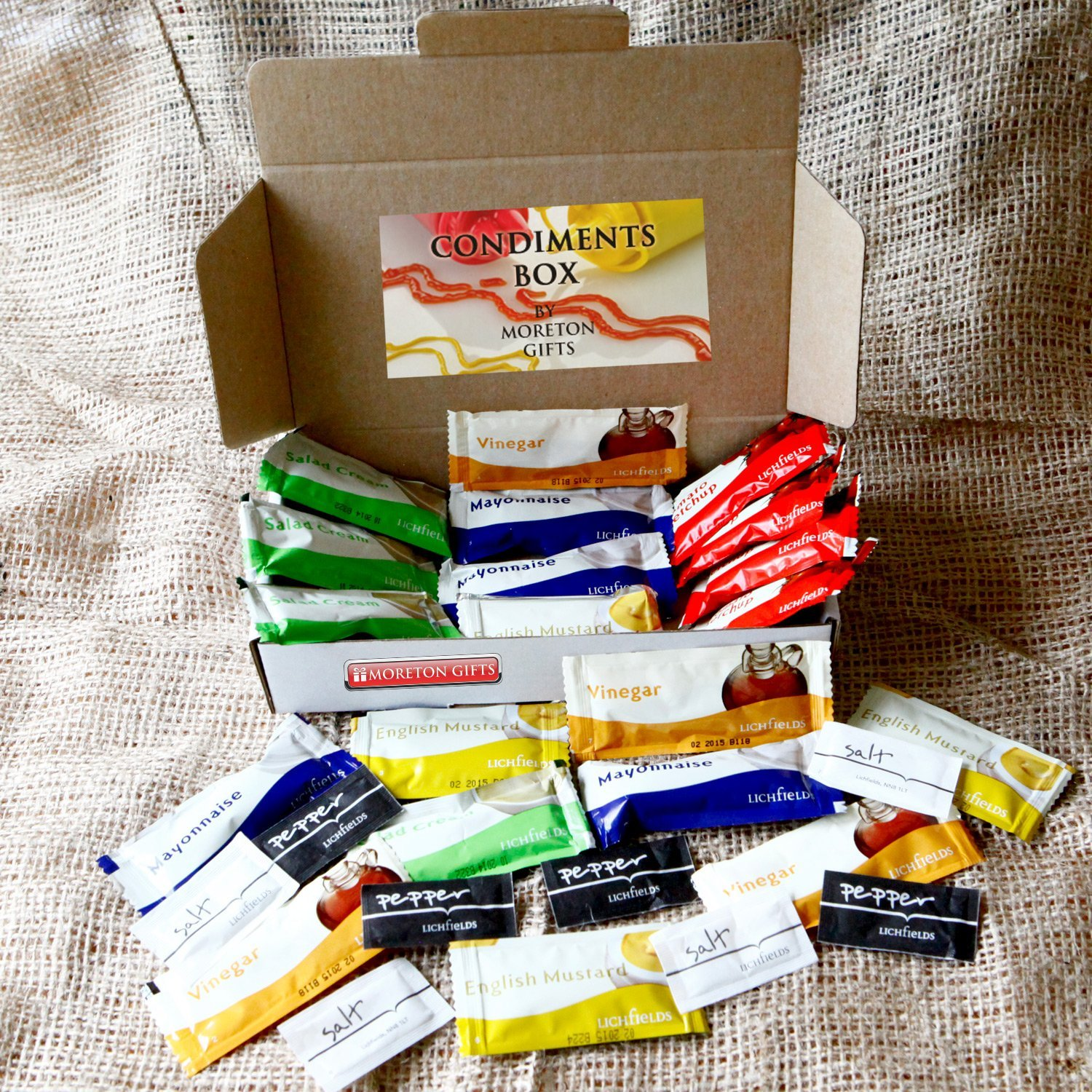 Moreton Gifts Weekend Travel Essentials Condiments Box - Ketchup, Salad Cream, Mayonnaise, Mustard, Vinegar, Salt & Pepper - Great For Holidays, Festivals, Camping, Offices - By
